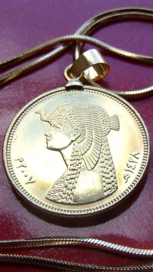 "Custom Cleopatra Handmade Coin Pendant on a 24"" 18k Gold Filled Box Snake Chain"