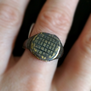 ancient basketweave pattern restored ring