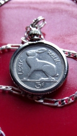 Irish bunny rabbit coin pendant necklace