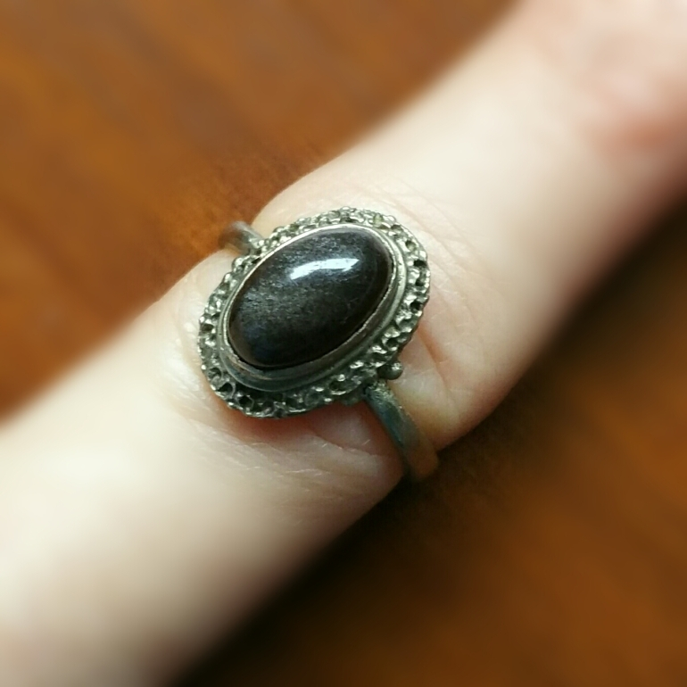 Antique Silver Alloy Cats Eye Ring