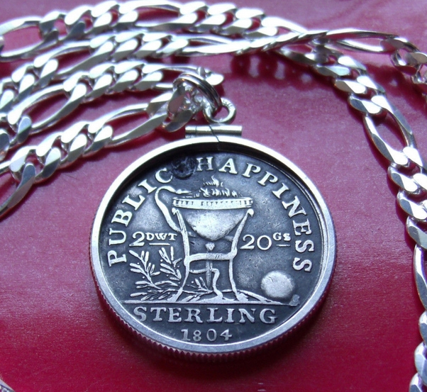 Irish coin pendant necklace coin jewelry coin necklace.