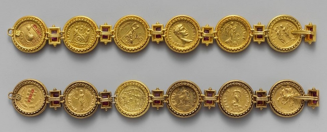 Early Imperial, Flavian Roman coin bracelets from 69-96CE. Courtesy TheMet.