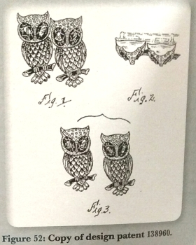 """Hoots"" submission design from Classic American Costume Jewelry Volume 2, Identification and Value Guide, by Jacqueline Rehmann."