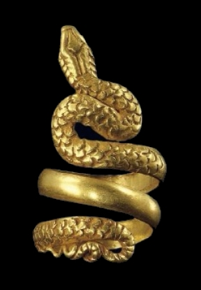 Hellenistic Snake Ring, 100BCE in the Benaki Museum in Athens, Greece.