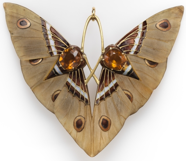 """""""Moth"""" pendant by Lucien Gaillard from the Met Museum in New York City."""