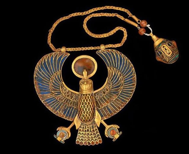 Tutankahamun's Falcon Pendant Necklace, from The Egyptian Museum in Cairo, Egypt.