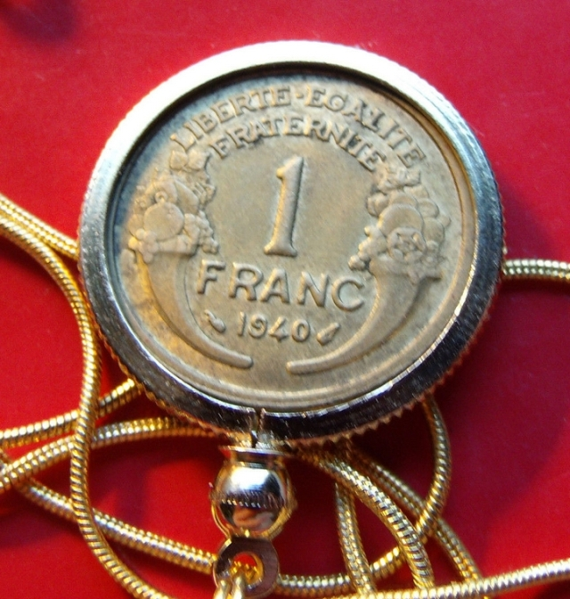 coin pendant necklace french 1 franc reverse