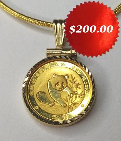 Gold Panda Coin Pendant Necklace $200.00