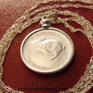 Canada Coin Pendant bunny rabbit