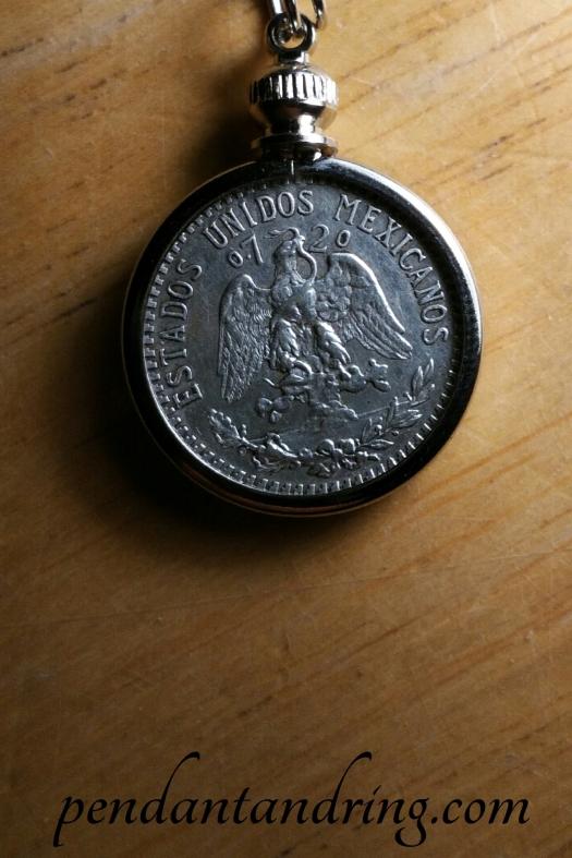 Mexico Eagle and Snake Coin Pendant Necklace