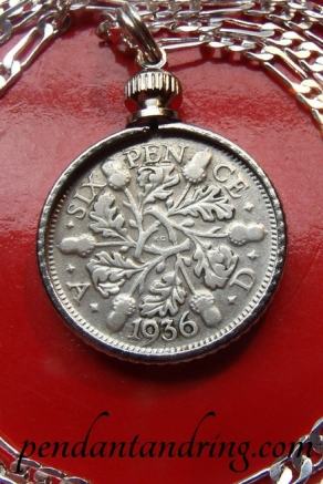antique english silver sixpence pendant necklace 2