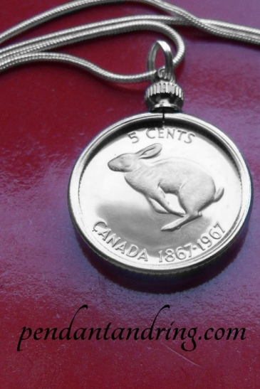 canadian rabbit coin pendant 2