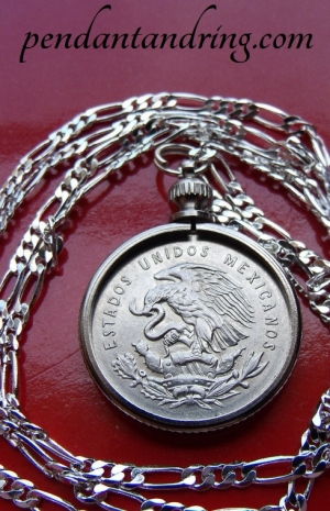 MEXICAN EAGLE COIN SILVER QUARTER Pendant