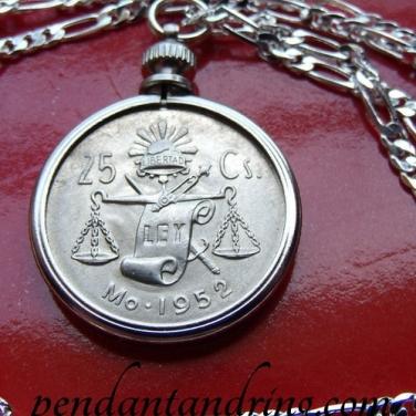 Mexico 25 centavos Pendant Necklace 2