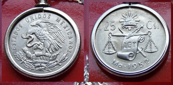"""MEXICAN Silver Veinte y Cinco Lovely Coin Pendant on 30/"""" 925 Silver Snake Chain"""