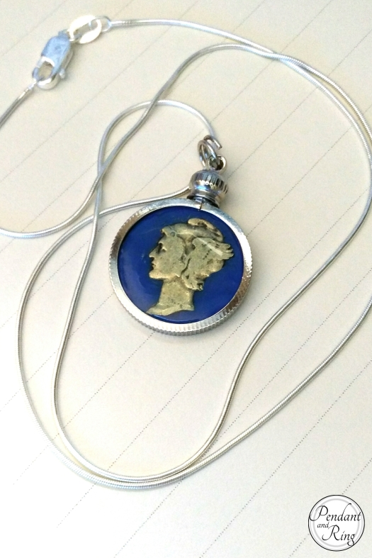 Pendant and Ring Mercury Dime Coin Pendant Necklace
