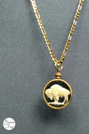 Black and gold Buffalo Indian Nickel Coin Pendant