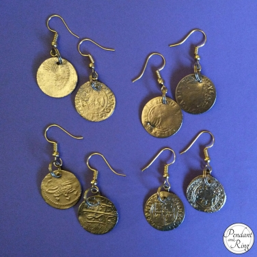 gold coin earrings b