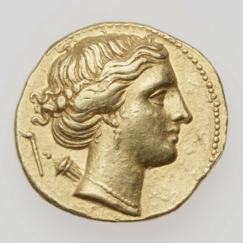 Gold half stater coin with a profile of Artemis.