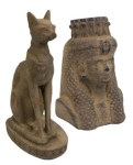 Ancient Egyptian Bastet statue and handmaiden bust statue.