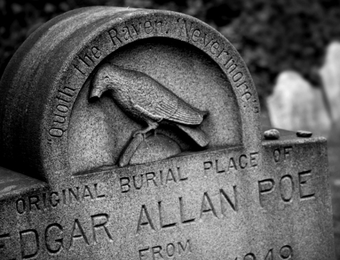 The raven on Edgar Allen Poe's gravestone.