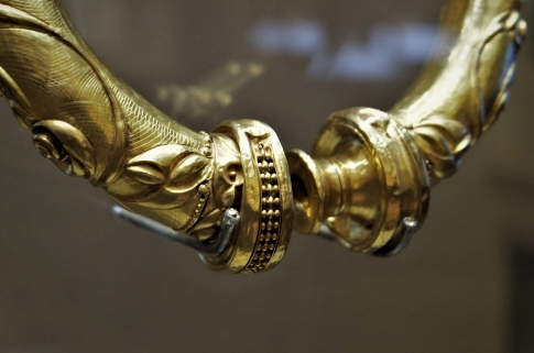 Detailed close up of an ancient torc closure.