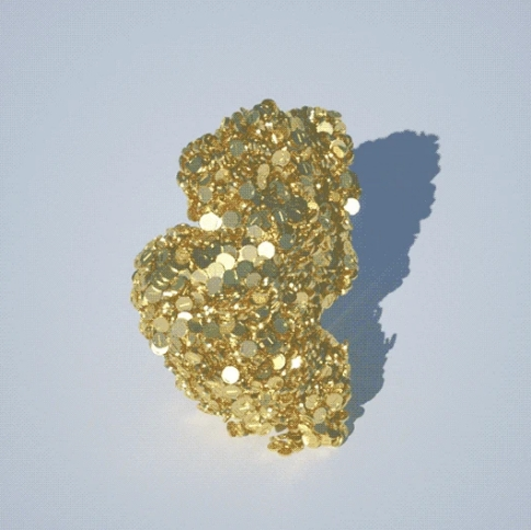 Still image of gold glitter gif rolling in on itself.
