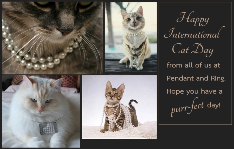 Happy International Cat Day Card with cats wearing jewelry; a greeting from pendant and ring.
