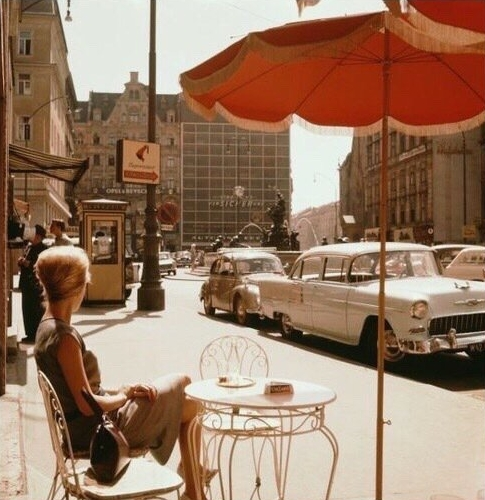 Vintage style at a cafe table in the 1970s.