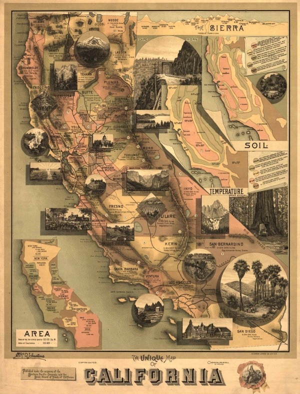 Antique map of California.