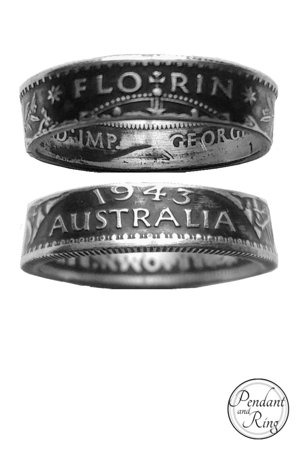 1943 Australia Florin, George VI Coin Ring