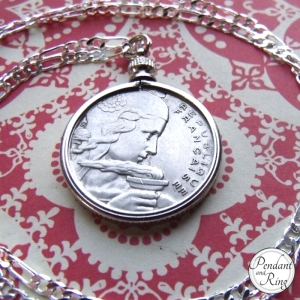 French Girl Coin Pendant