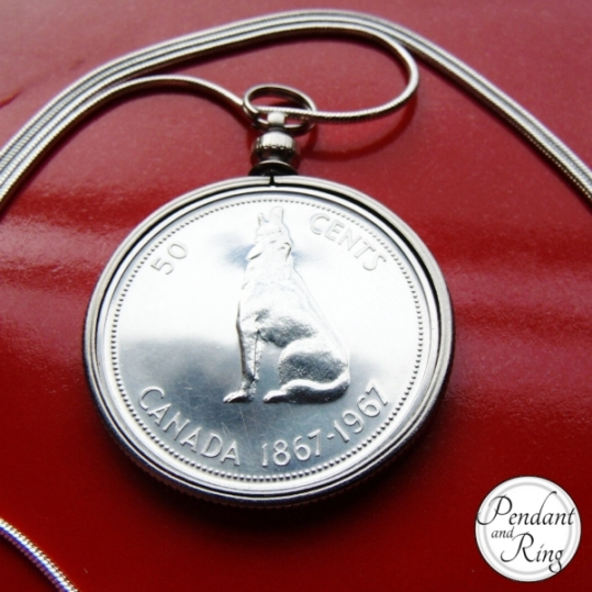 mens jewelry wolf coin pendant necklace