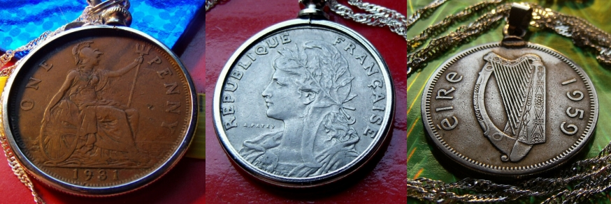 England France Ireland Coin Pendant