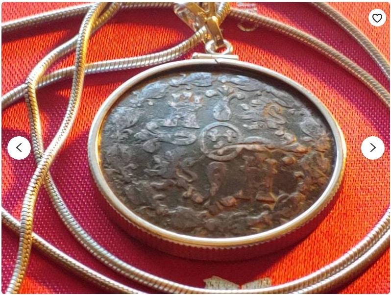 "1815 Spanish 8 Maravedis Bronze Sterling Channel Bezel Pendant 29mm on a 20"" Italian Sterling Silver Snake Chain"