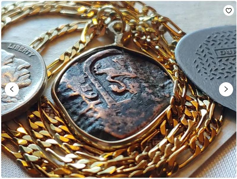 Authentic Pirate Cob 1624 Bronze Spanish 8 Maravedis Bronze Pendant set on a 18KGF Gold Filled Figaro Chain. 1624 Siege of Breda.