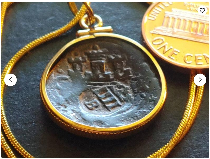 Treasure Coast Recovered 1598 Spanish Colonial Hammered 4 Maravedis Castle & Lion Bronze Coin Pendant on an 18KGF Gold Filled Snake Chain.