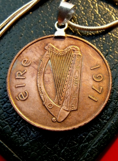 "You can find this coin pendant on Honored Allies on eBay. The title is ""PRIDE 1971 Bronze CELTIC HARP PENNY Pendant on a 30"" 925 Silver Chain"""
