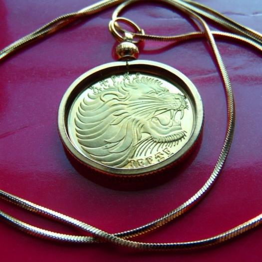 lion coin pendant necklace