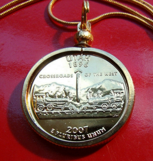Utah State Quarter Pendant Necklace