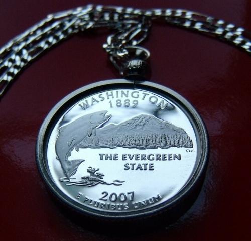 Washington State Quarter Pendant Necklace