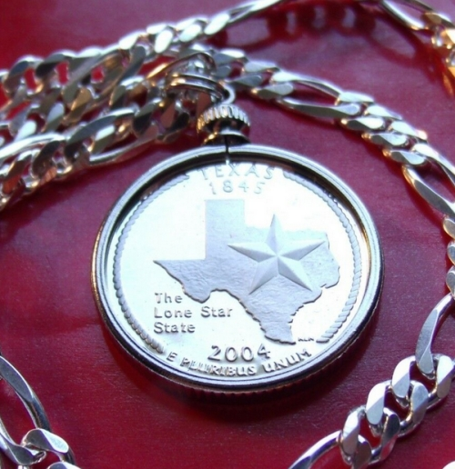 Texas State Quarter Coin Pendant Necklace