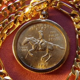 Gold Plated Delaware Coin Pendant
