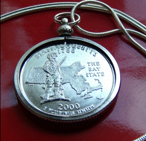 Massachusetts State Quarter Coin Pendant Necklace