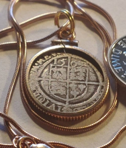 1567 Tudor Era Elizabethan Coin Pendant
