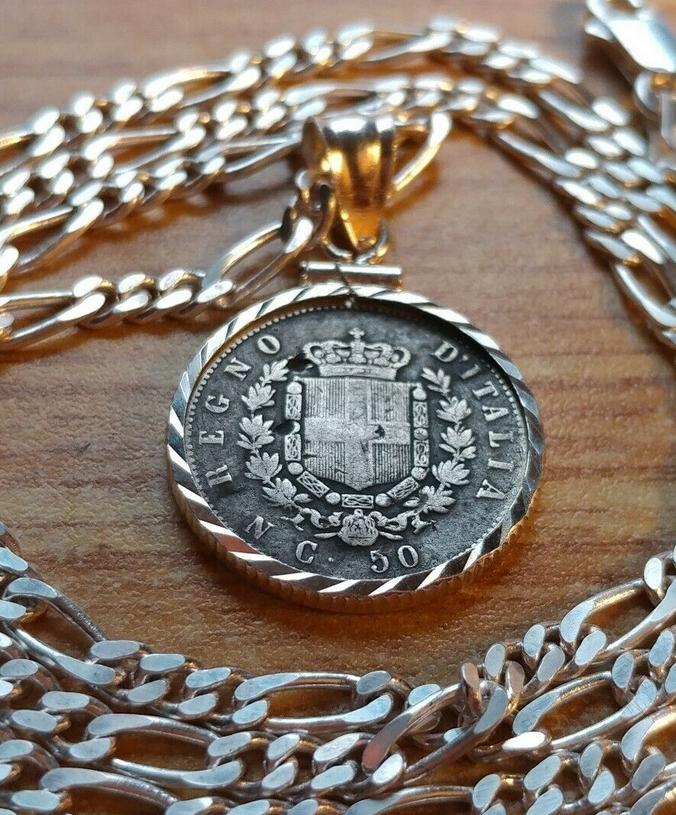 Antique Italian Coin Pendant Necklace