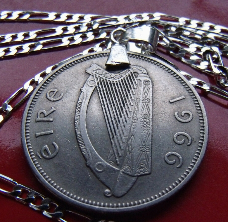 Irish Harp Coin Pendant Necklace