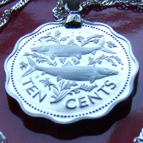 Bahamas Two Fish Coin Pendant Necklace https://www.ebay.com/itm/232923540902