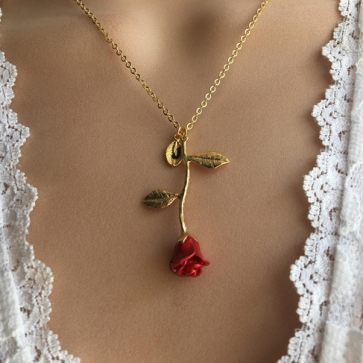 Red Rose Customized Necklace