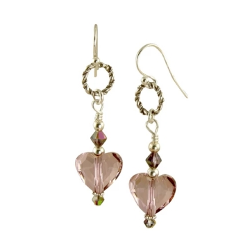 Swarovski Heart Silver Earrings